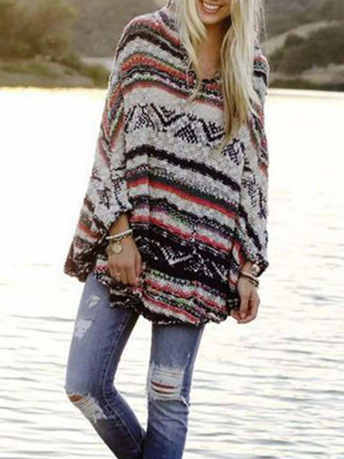 Ladies Striped Simple Sweater