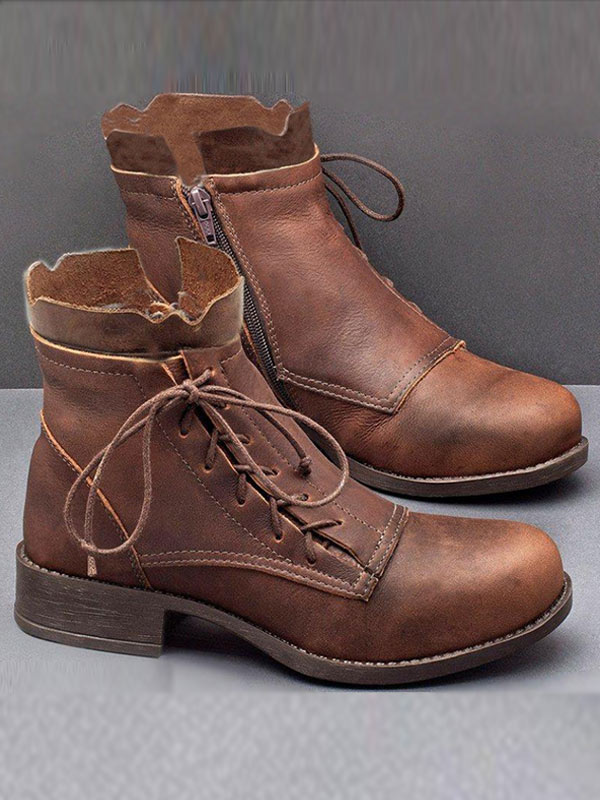 Women's Vintage Lace Up Lace Up Heel Boots
