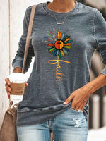 Load image into Gallery viewer, Women's Faith Cross Sunflower Color Print Top