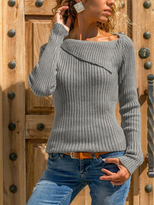 Ladies lapel long sleeve knitted sweater