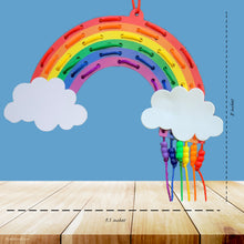 Load image into Gallery viewer, This picture shows The Kids Craft's Cherish the Rainbow Craft Kit - Rainbow Lacing Craft that your kid will be able to create once they are done.  Let your kid be a creator with this Craft Kit Box - The Kids Craft, a Creativeana LLC company creation. Your kid will love The Kids Craft's Cherish The Rainbow Crafts as they create their own hot air balloon, decorate their rainbow, create a bracelet, and create their art masterpiece.