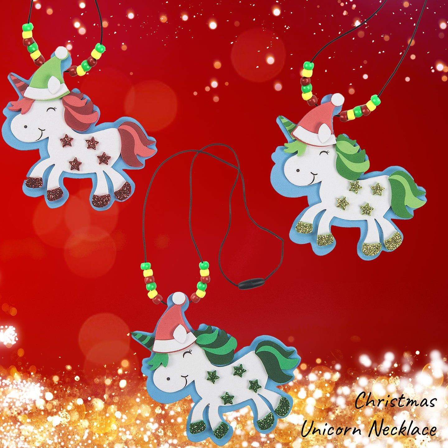 Christmas Unicorn Necklace DIY Craft Kit (Pack of 1, 2 or 12 kits)