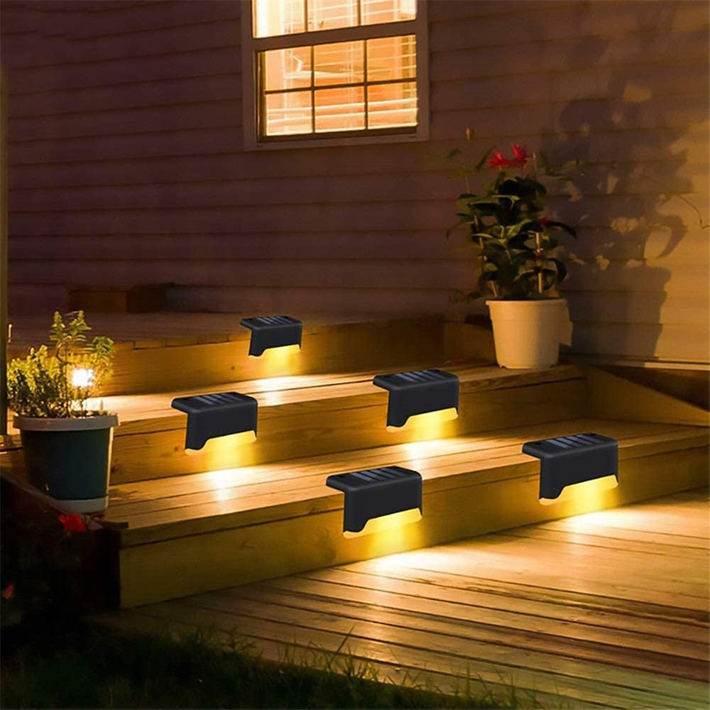 4PCS LED Solar Stair Outdoor Light Garden Yard Fence Wall Landscape Lamp New