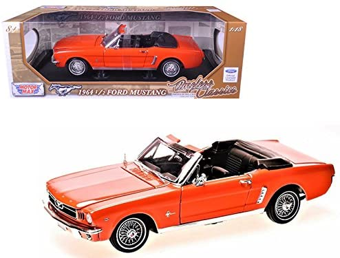 "1/18 Scale 1964 1/2 Ford Mustang Convertible Red ""Timeless Classics"" Diecast"