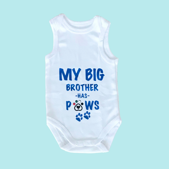 My Big Brother has Paws - Babygrow vest