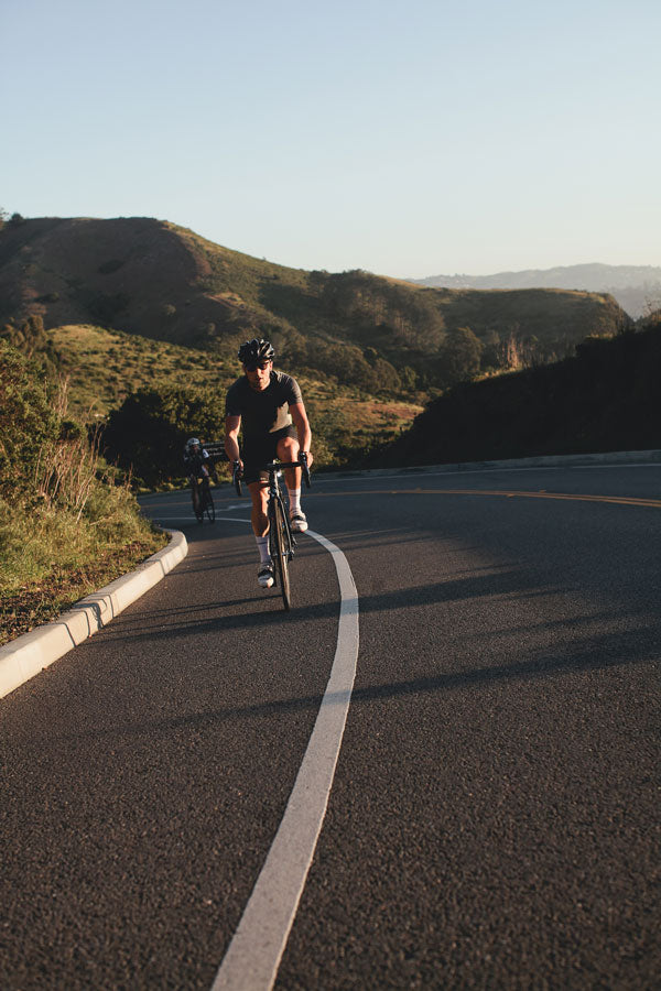 Cyclist Ed Dorsey of Strava climbs Hawk Hill