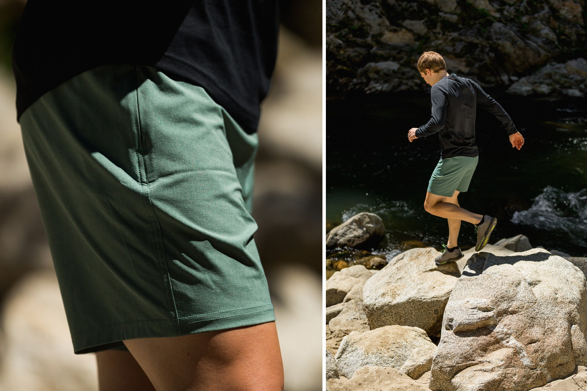 fe9f88380b439b Featured: Momentum Short in Heather Sea Pine, Momentum Long Sleeve in  Charcoal