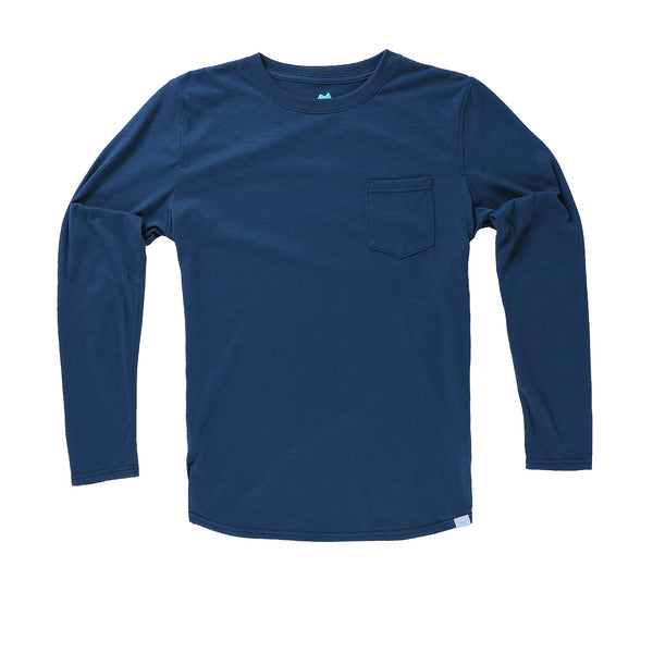 Everyday Long Sleeve Tee with Pocket in River - Myles Apparel
