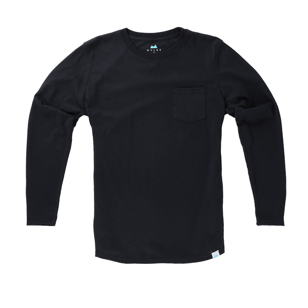Everyday Long Sleeve Tee with Pocket in Coal - Myles Apparel