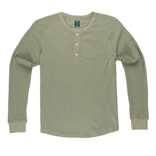 Weekend Thermal Henley in Sage (Original Fit) - Myles Apparel