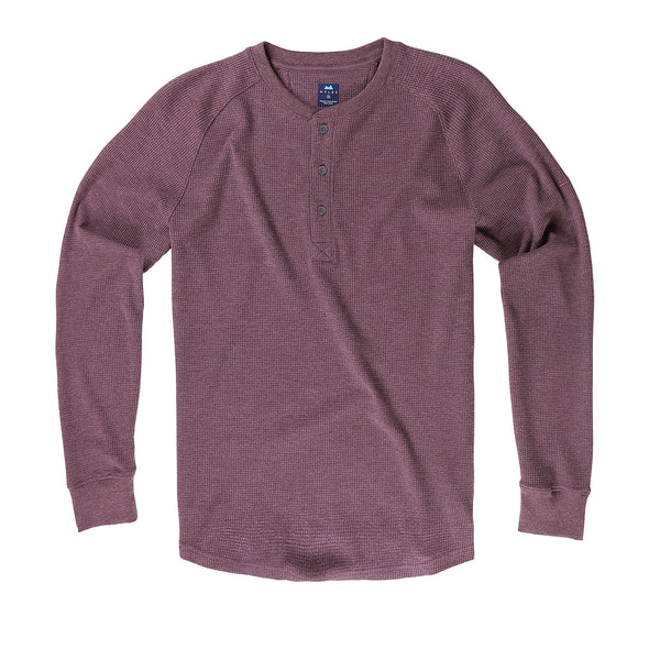 Weekend Thermal Henley in Midnight Brown