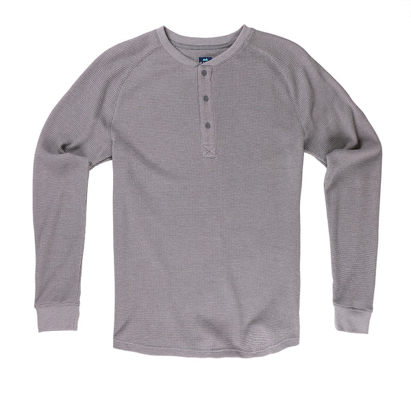 Weekend Thermal Henley in Heather Gray - Myles Apparel