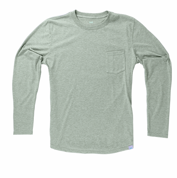 Everyday Long Sleeve Tee with Pocket in Heather Clover - Myles Apparel