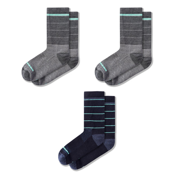 Merino Wool Crew Sock Bundle in Heather Gray/Heather Gray/River