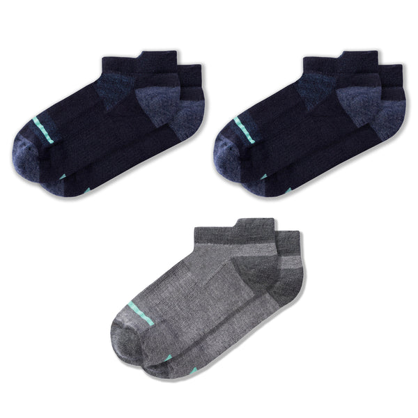Merino Wool No-Show Sock Bundle in River/River/Heather Gray