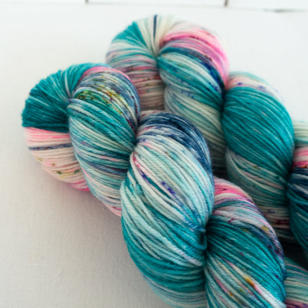 Skip Rope Yarn Co hand dyed sock yarn - two skeins of varigated yarn with speckles of blue and pink