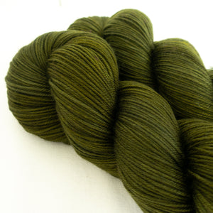 Skip Rope Yarn Co hand dyed sock yarn - Juniper Dreams, two skeins of olive green hand dyed yarn