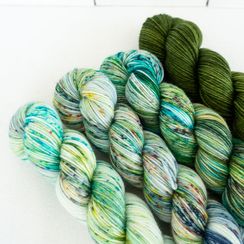 Skip Rope Yarn Co hand dyed Sock Yarn set - 4 x 50g skeins of yarn in shades of green and blue