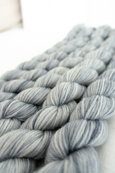 Skip Rope Yarn Co 20g mini-skeins - five small skeins of hand dyed yarn in light grey