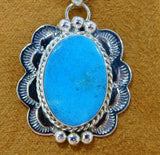 Sterling Silver Blue Turquoise Scalloped Pendant