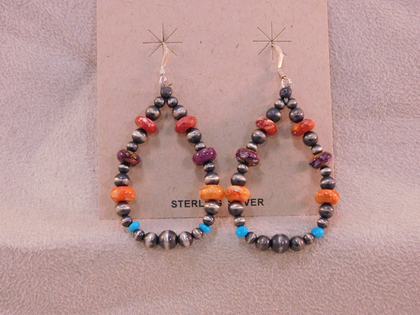 Navajo Sterling Silver Colorful Beaded Earrings