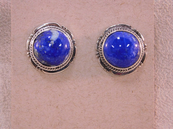 Vibrant Sterling Silver Lapis Round Post Earrings