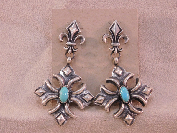 Sterling Silver Repousse Turquoise Earrings