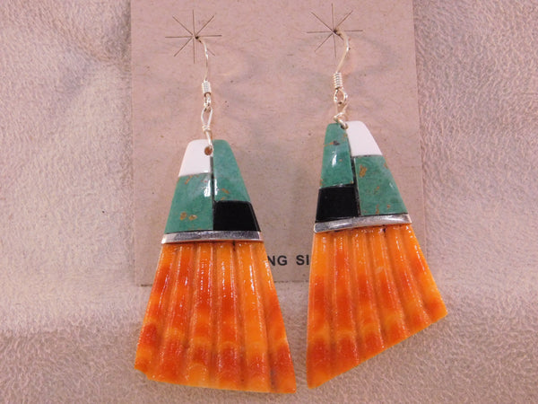 Large Santa Domingo Colorful Shell Inlay Dangle Earrings