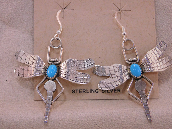 Navajo Sterling Silver Turquoise Dragonfly Dangle Earrings