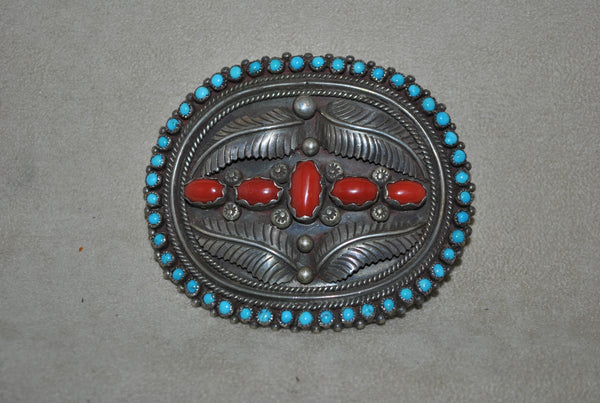 Vintage Silver Buckle With Coral and Turquoise
