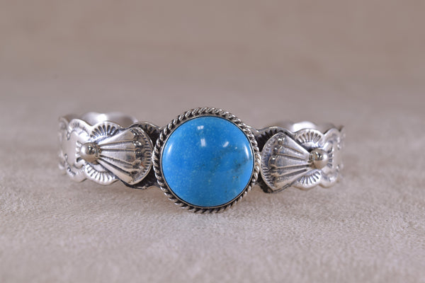 Sterling Silver Round Bright Blue Turquoise Bracelet L James Navajo