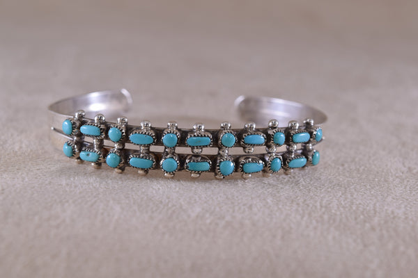 Sterling Silver Turquoise Dots and Dashes Cuff Bracelet