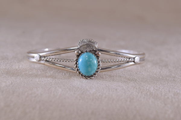 Dainty Sterling Silver Turquoise Bracelet Cuff Navajo