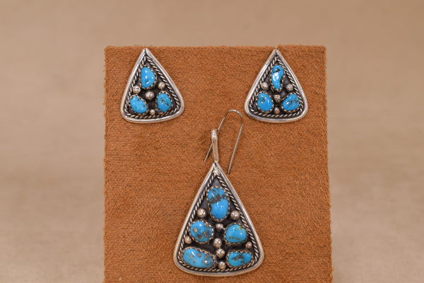 Native American Sterling Silver Turquoise Cluster Set Pendant/Earrings