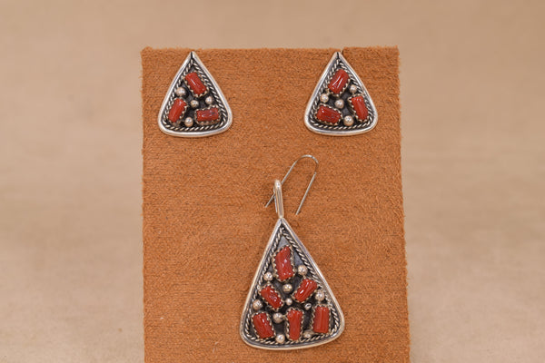 Native American Coral Cluster Set Pendant and Earrings