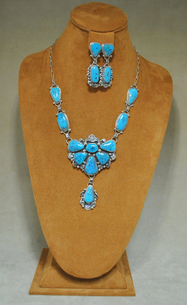 Navajo Silver Robin Egg Turquoise Necklace set