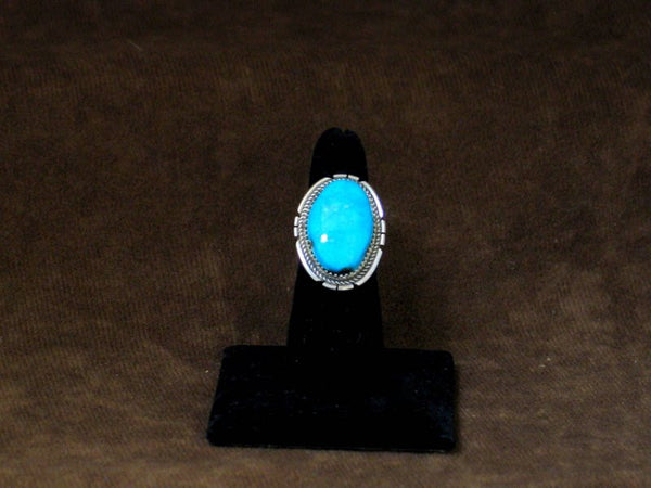 New Kingman Turquoise and Silver Ring 6 1/2