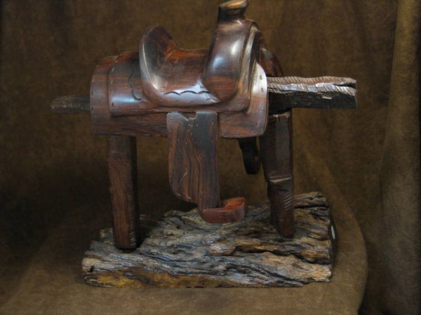 Ironwood Carving of Saddle on Stand from Mexico