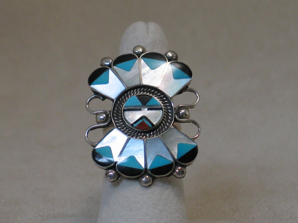 Zuni Inlay Sun Kachina Mask Ring A Dishta
