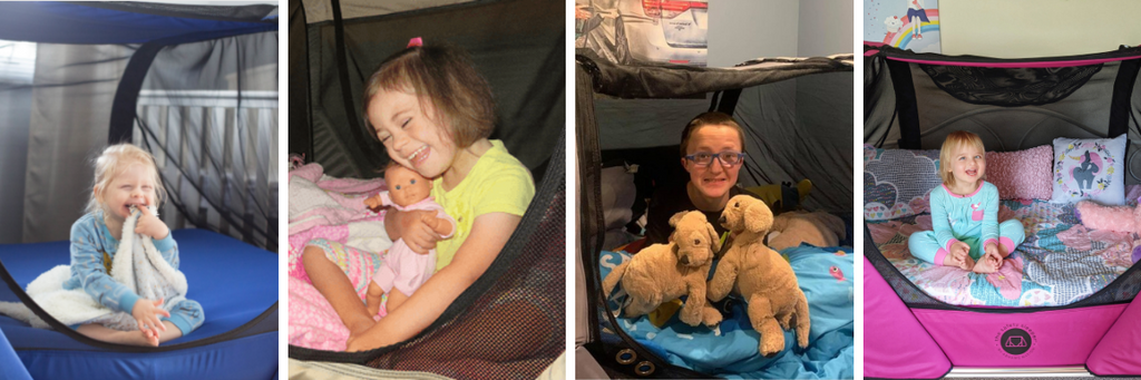 Images of children inside of The Safety Sleeper, a fully enclosed safety bed for people with special needs