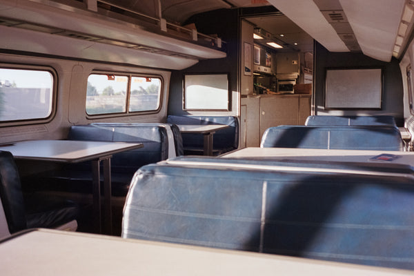 Inside view of Amtrak train rode by Rose Morris and her family on their vacation
