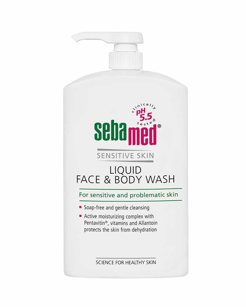 Sebamed face and body wash white pump bottle