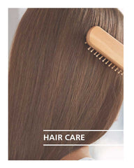 brushing hair with hair care title