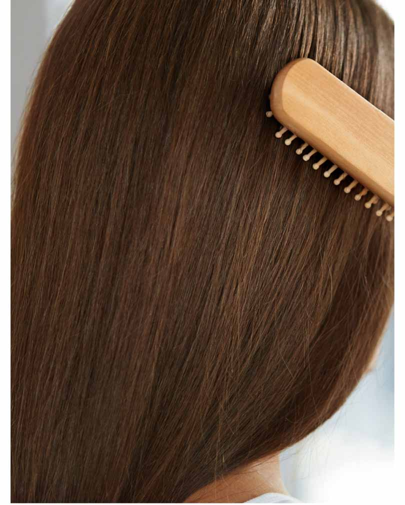 woman's brunette hair and brush
