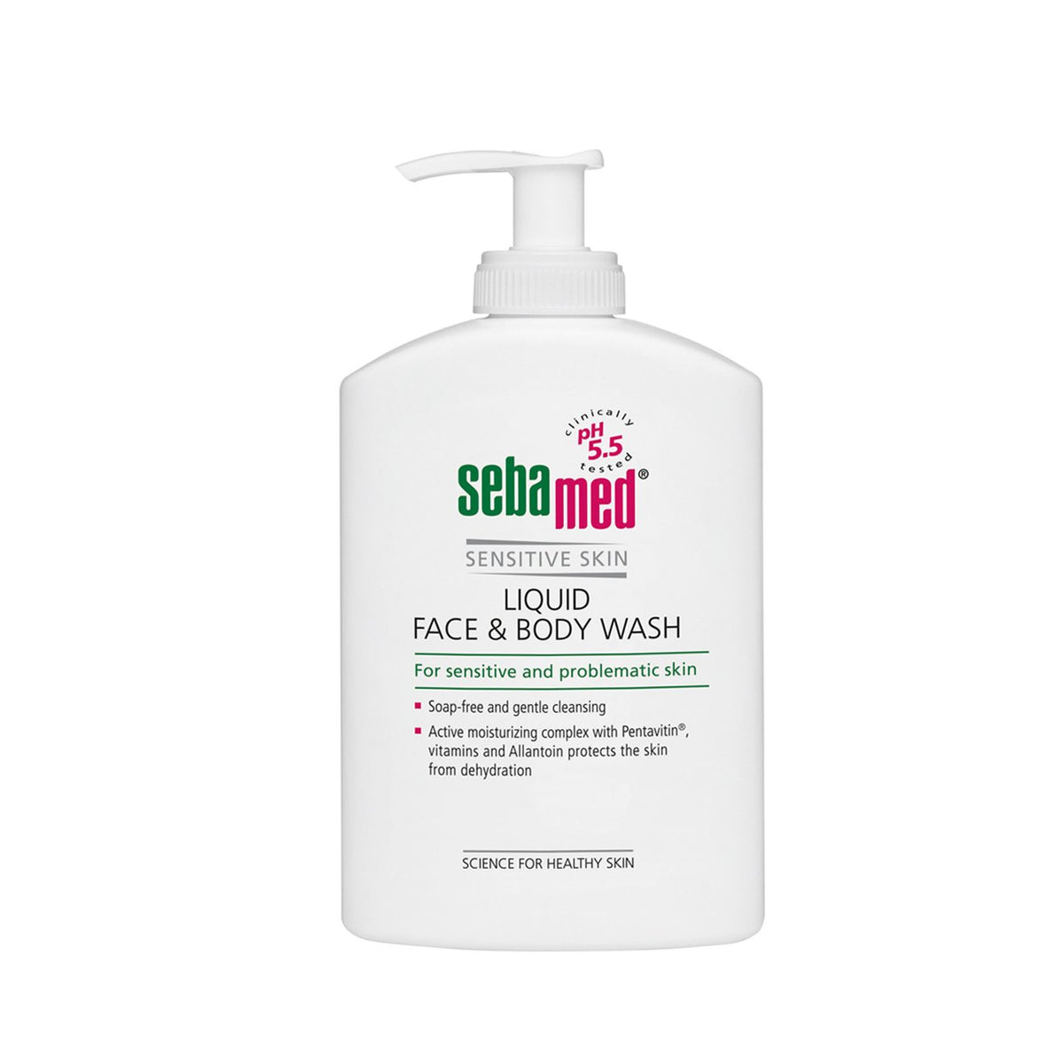 white 300ml sebamed liquid face and body wash pump bottle