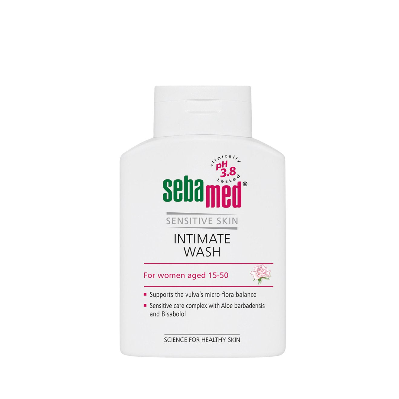 white 200ml sebamed feminine intimate Wash with a pH 3.8 flip top bottle