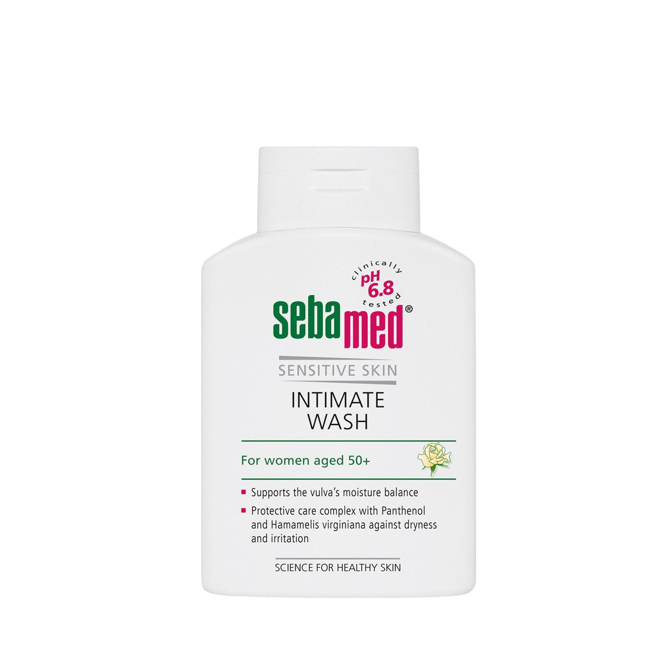 white 200ml sebamed feminine intimate Wash with a pH 6.8 flip top bottle