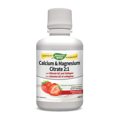 Calcium & Magnesium with K2 Liquid, Strawberry