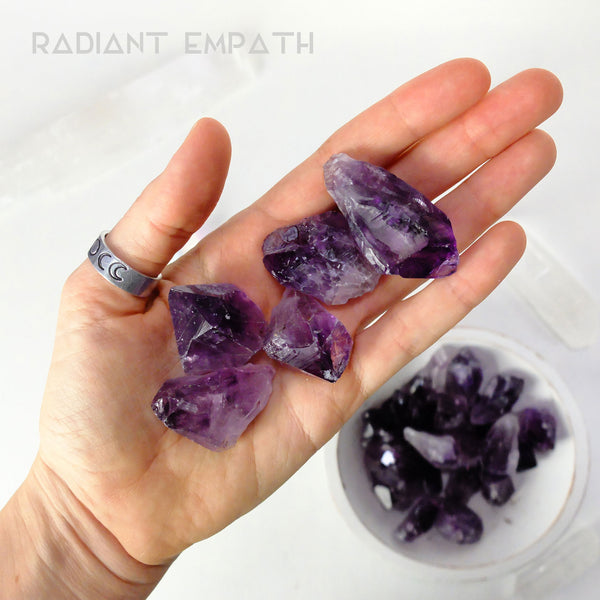 raw amethyst points