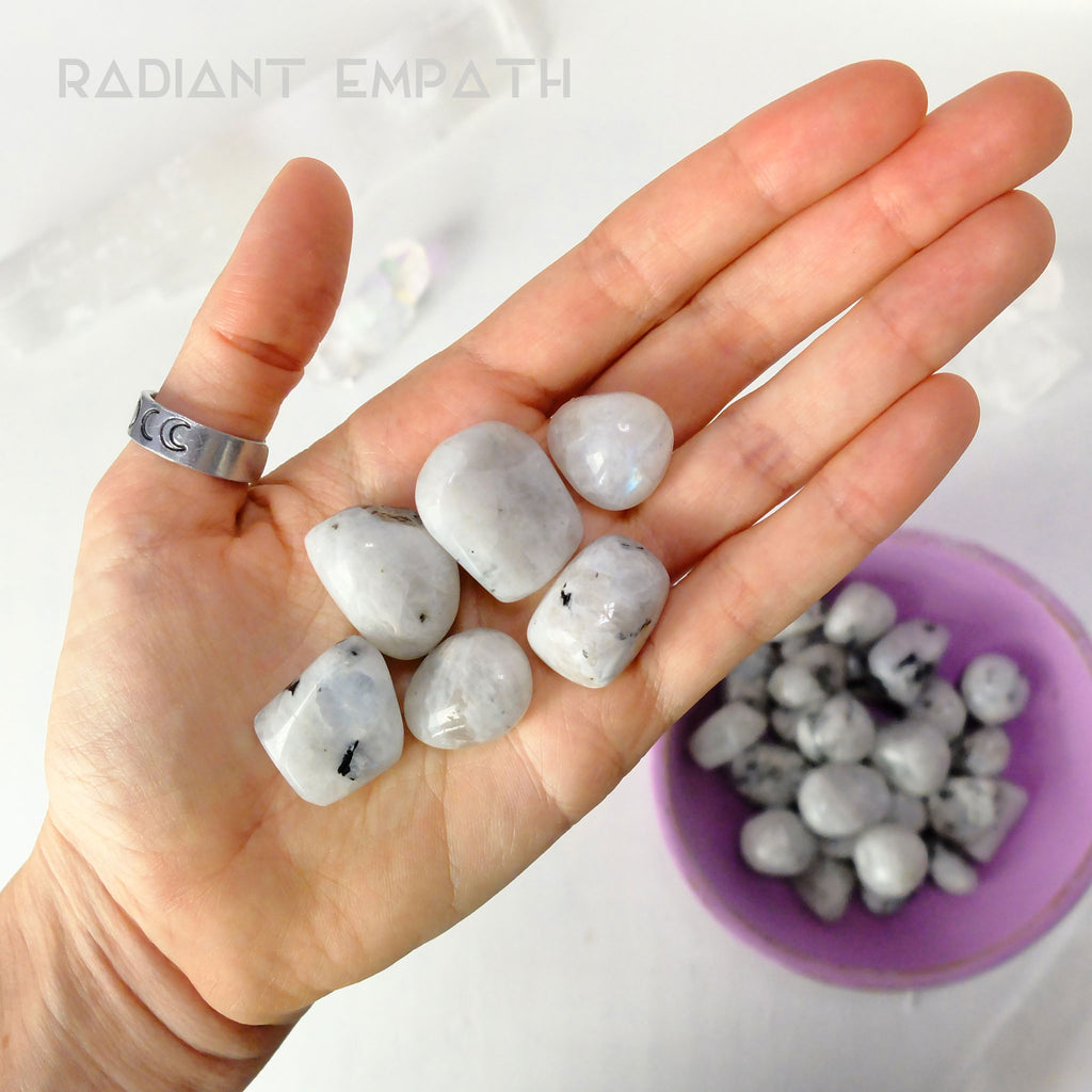 tumbled rainbow moonstone